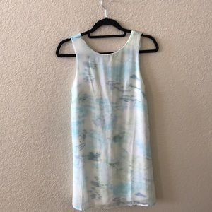 Blue white and green cloudy dress